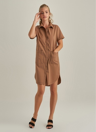 NGSTYLE Gömlek Elbise Camel